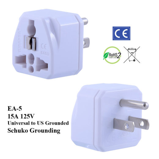 EA-5_White, US Plug Adapter with Schuko Ground
