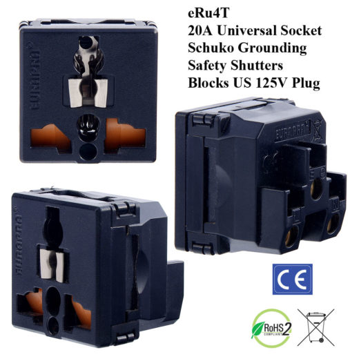 eRu4T_Black, Universal Outlet with Schuko Ground and Safety Shutters (Blocks US 110V Outlet)
