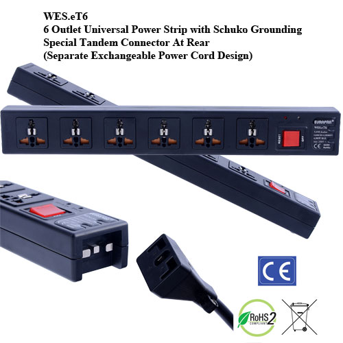 eT6, 4th Gen WonPro II 6-Outlet Univ. Power Strip with Schuko Ground