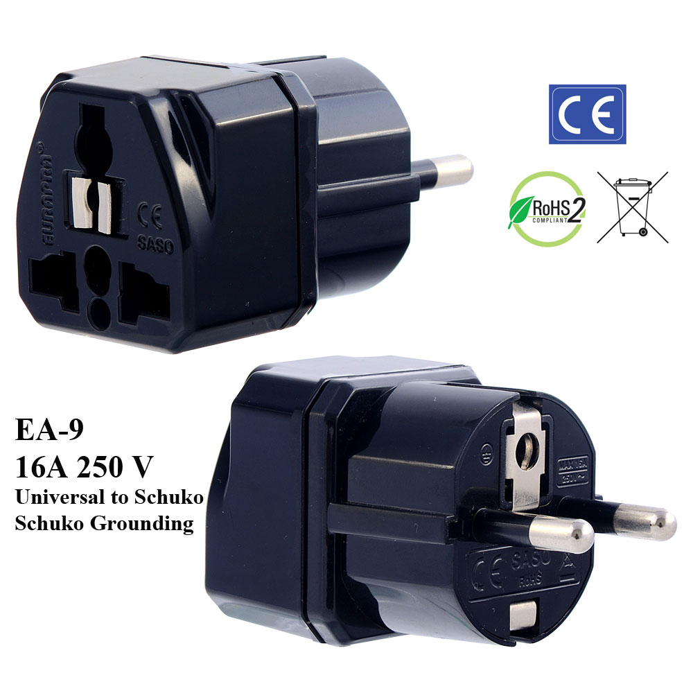 euro plug adapter 220v power strip european plug adapter ea 9 black plug adapter schuko ground