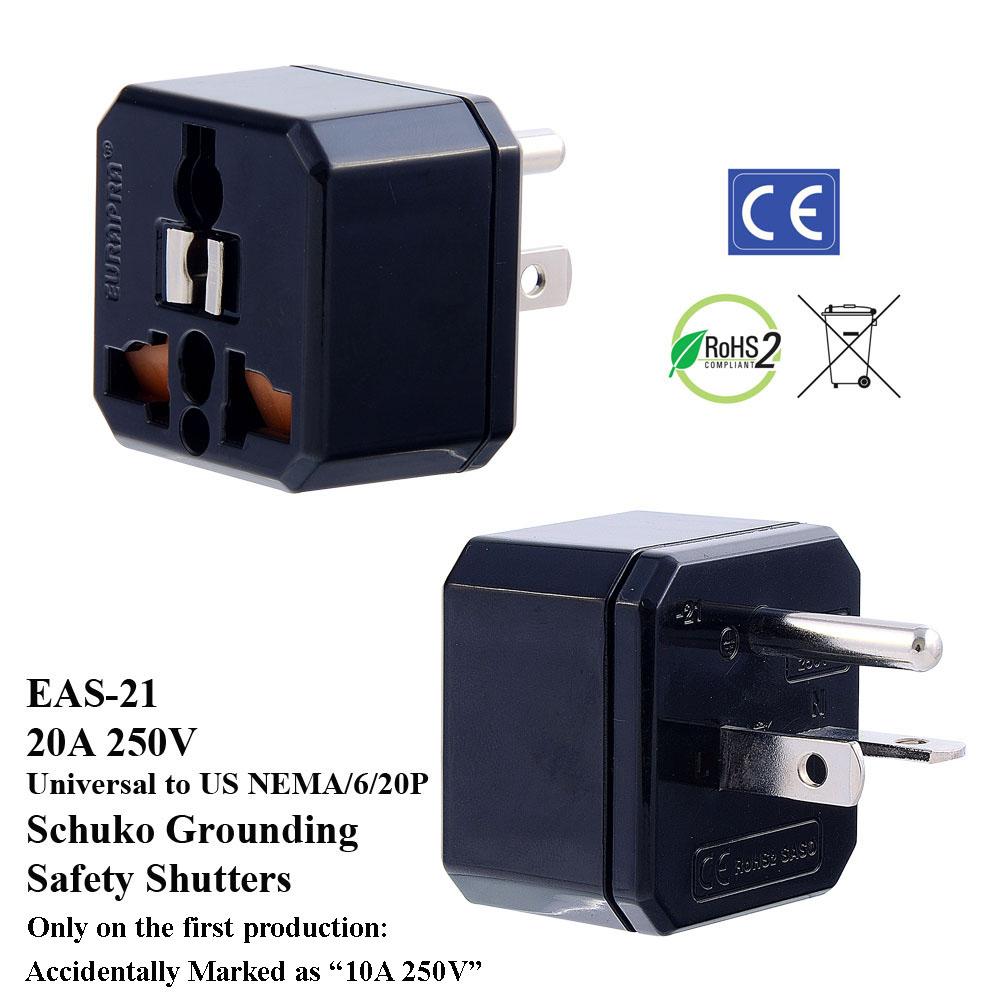 Universal Plug Adapter Nema 6 20p Details Of L1430p To 615 20r 1 Foot 20a 250v Eas 21 Black 20 Us W Schuko